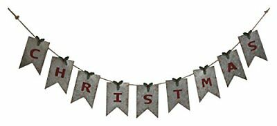 Christmas Distressed White Pennant w/ Red Letters 67.5x7 Galvanized Metal Banner