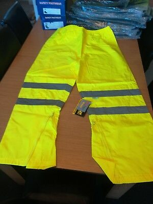 Hi Light Yellow Hi Vis Visibility Over Trousers Reflective Safety  Waterproof
