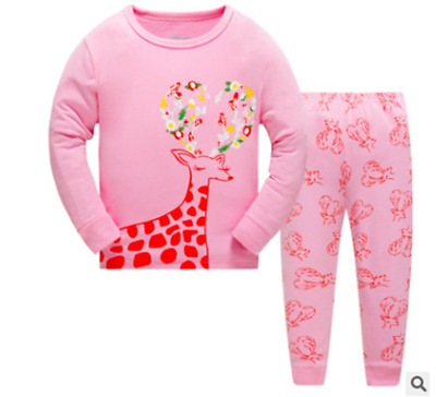 Little Girls' 2 Piece Pink Deer Long Sleeve T-shirt & Pants Pajamas Set