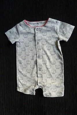 Baby clothes UNISEX BOY GIRL newborn 0-1m grey/red cats romper/playsuit SEE SHOP