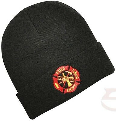 Firefighter Fire Rescue Department Knit Watch Cap Beanie Embroidered Black