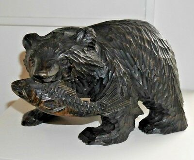 Vintage Carved Wooden Bear with Salmon Ainu Kuma Japan Black Forest LARGE ! C307