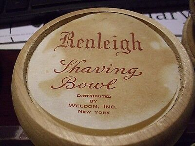 "Vintage RENLEIGH Shaving Soap In Wooden Bowl 4""X2' WITH PAPER LABEL NEW OLD STOC"