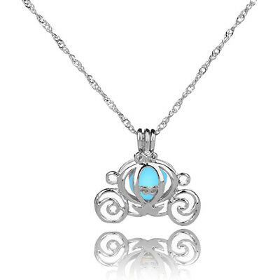 Glow In The Dark Luminous Pumpkin Pendant Necklace Silver Plated Women Jewelry;