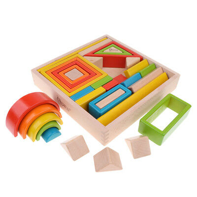 32-piece Kids Wooden Rainbow Stacking Blocks Educational Montessori Toys