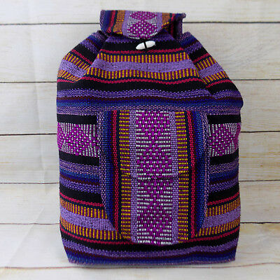 Handmade Woven Mexican Backpack Serape Beach Bag Hippie Bohemian Rasta Purple