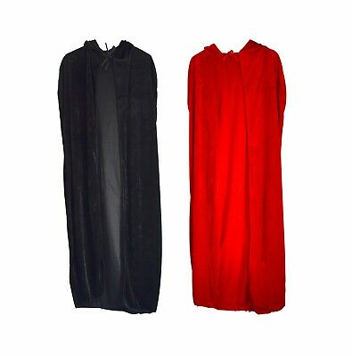 Halloween Long Velvet Cape Hooded Cloak Cosplay Costume Witch Fancy Party