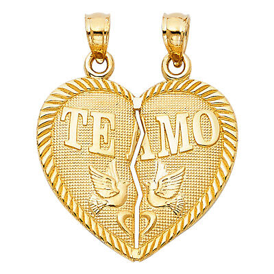 Real 14K Yellow Gold Broken Split Heart Te Amo Dove Vintage Charm Pendant Unisex