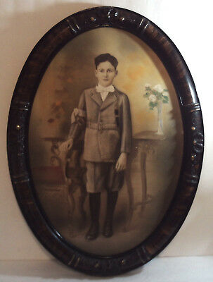 ANTIQUE Wood Oval Framed Picture BOY w/ DEATH INFO Convex Glass VICTORIAN STYLE
