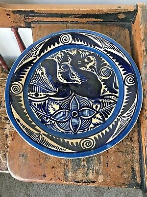 Vintage Mexican Hand Painted Tlaquepaque Fantasia Pottery Plate Cobalt Blue Old