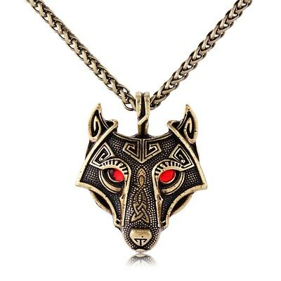 Antique Gold Tone Celtic Viking Wolf Head With Red Eyes Pendant Necklace