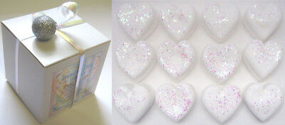 SNOW GIFT BOX WITH 12 xSNOW HEART GLITTER ESSENTIAL OIL BATH BOMBS