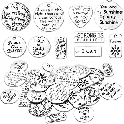 BronaGrand 40pcs Inspiration Words Charms Beads Charm Pendants for DIY Jewelry