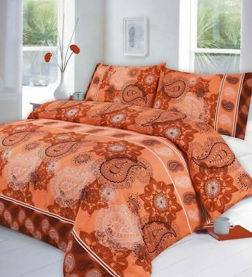 PAISLEY TERACOTTA Duvet Covers Quilt Cover Reversible Bedding Sets All Sizes