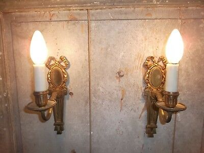 French a pair of gold patina bronze wall light sconces antique  exquisite