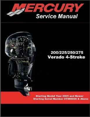 mercury verado 4 stroke 200 225 250 275 outboard factory service rh picclick com mercury verado 150 owners manual mercury verado 150 hp manual