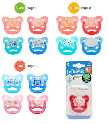 Dr Browns Baby Soother Dummy Pacifier Teat 0-6m / 6-12m / 12m+ Glow in Dark