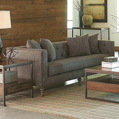 Traditional Tweed Fabric 2Pc Gray Sofa Set Sofa & Loveseat Living Room Furiture