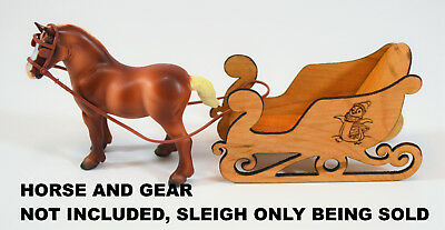 Miniature Sleigh Wooden Maple Carved, Sized For Breyer Stablemates Tiny Horses