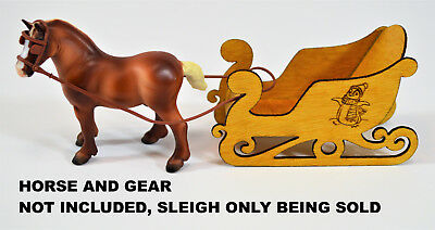 Miniature Sleigh Wooden Yellowheart Carved, Sized For Breyer Stablemates Horses