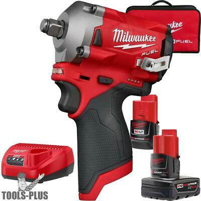 "Milwaukee 2555-22 M12 FUEL Stubby Cordless 1/2"" Impact Wrench (Tool Only) New"