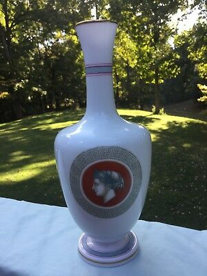 Antique Greek Revival Porcelain Hand Painted Flower Vase Made In France