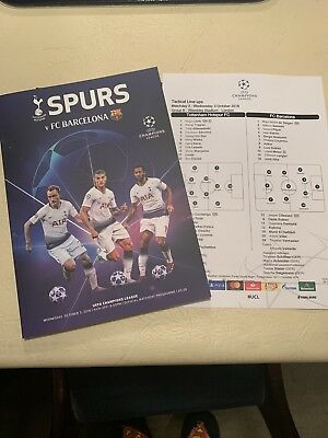 Spurs V FC Barcelona Mint Programme + Official Team sheet Wembley 2018