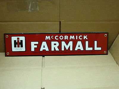 "McCORMICK FARMALL INTERNATIONAL HARVESTER PORCELIAN ENAMELED METAL SIGN 18"" X 4"""