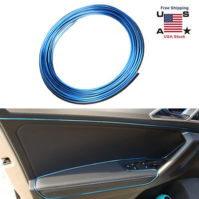 5M Auto Accessories Universal Car Interior Gap Decorative Blue Line Chrome Shiny