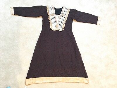 Pakistani Indian 1 piece stitched kameez  silk formal Shirt M size