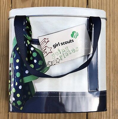 Girl Scout's Cookie Metal Tin, Going Places w/ Straps, New, Collectible