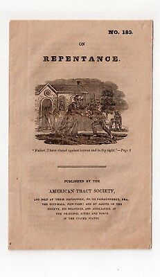 ANTIQUE MID 1800s BOOKLET ON REPENTANCE NO. 183 AMERICAN TRACT SOCIETY