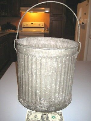 """Vintage Small Galvanized Metal Bucket Ribbed Trash Can 11 1/4"""" Tall 11 1/2 Dia"""