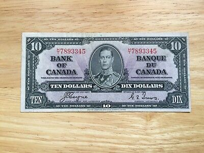 Lot CT5  $10 1937 Bank of Canada note Coyne/Towers  LOOK at Pictures