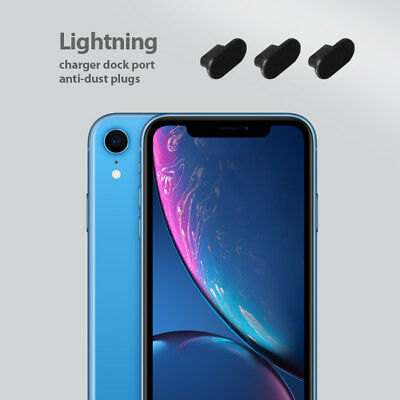 3 x Black Anti Dust Plug charger dock port for lightning For iphone XR