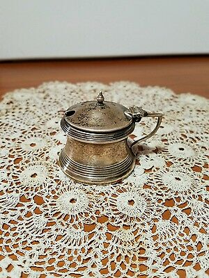 Antique Blanckensee Hallmark Sterling Hinged Lid Mustard Pot, no insert