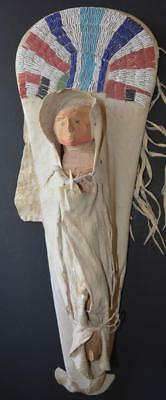 Antique Native American Beaded Toy Doll Cradleboard with Carved Wooden Doll