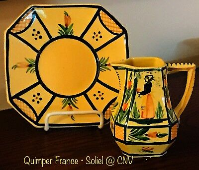Quimper France • RARE Yellow Soleil Plate & Pitcher (c)1945 • 1950 • 2pc Lot