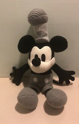 """Disney Parks Large 24"""" Mickey Mouse Steamboat Willie Plush Crochet Knit! Rare!"""