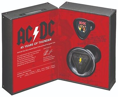 Australia Ac/dc 45 Years Of Thunder 2018 $5 Silver Nickel Plated Proof Coin