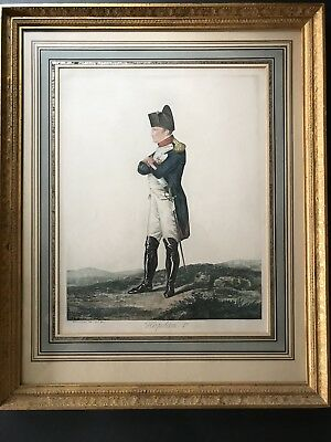 "22"" Large Antique c. 1807 Napoleon Bonaparte Colored Engraving Signed & Framed"