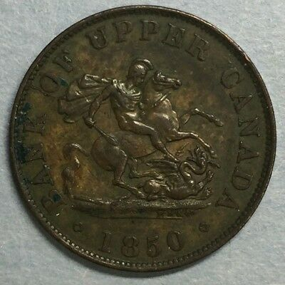 1850 Bank of Upper Canada One Half Cent Half Penny Token #SS728