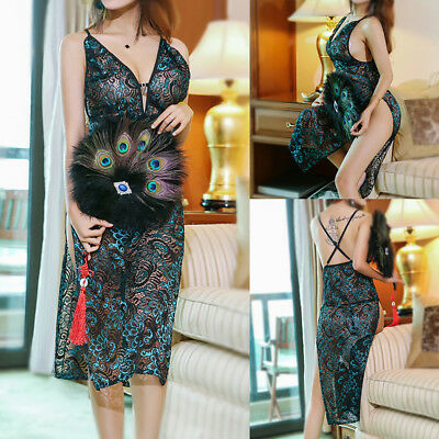 Peacock Embroidery Cheongsam BabyDolls Hollow Out Lingerie Costumes Pajamas EO