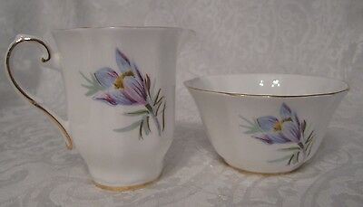 Royal Grafton Bone China MANITOBA CROCUS Sugar Bowl & Creamer SPRING-EASTER