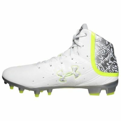 Mens UNDER ARMOUR BANSHEE CompFit LAX Lacrosse Football Cleat WHITE SILVER 8.5