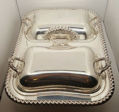 Vintage English Silver MFG - Silver Plate Covered Double Lid Buffet Dish