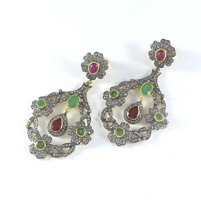 Natural Ruby Emerald Pave Diamond Earrings 925 Sterling Silver Jewelry PQ324