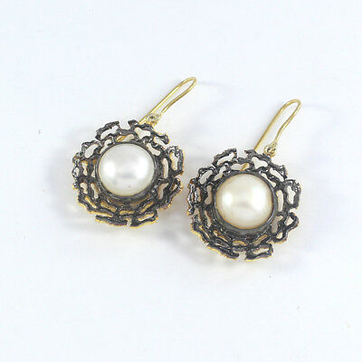 Pave Diamond Pearl Earrings 925 Sterling Silver Designer Vintage Jewelry PQ333