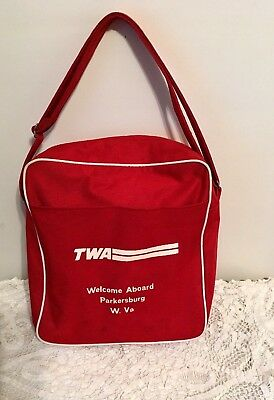 Vintage TWA Carry On Bag  Airlines Suitcase Flight Attendant West Virginia RARE