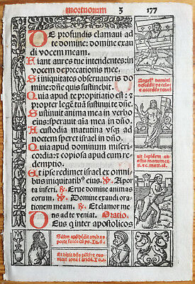 Decorative Leaf Book of Hours Woodcut Border Venice Stagnini (177) - 1518
